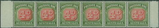 Postage Due SG D135 4d Carmine and deep Green strip of 6 s (AD1/13)